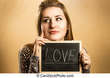 考え, 黒板, 女, 愛, 保有物