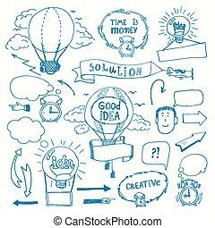 考え, doodles, 概念, 創造的