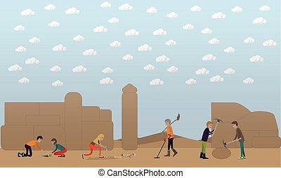 考古学的, 発掘, 概念, ベクトル, イラスト, 中に, 平ら, スタイル