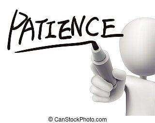 耐心, 人, 3d, 詞, 寫