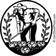 耕すこと, 庭, 地虫, くわ, レトロ, 農場, 野菜, 有機体である, 円, 農夫