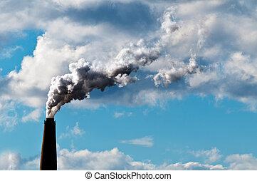 耗盡, 大氣, co2, 數額, 浪費, 煙囪