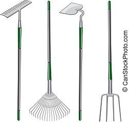 耙, 鋤頭, 以及, 干草叉