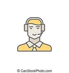 耳机, creati, 中心, 色彩丰富, 矢量, 电话, 操作员, icon., 人