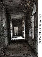 耳语, 在中, the, 走廊