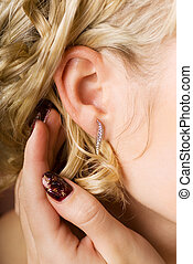耳, jewlery, ダイヤモンド, 女性