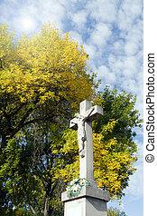 耶穌受難像, 在, the, 背景, ......的, 樹