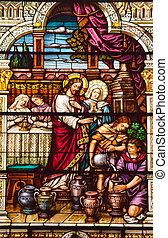 耶穌, 旋轉, 水, 到, 酒, 在, cana, 聖徒, 彼得, 以及, 保羅, 天主教徒, 教堂, 完成, 1924...