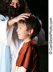 耶穌, blesses, 孩子