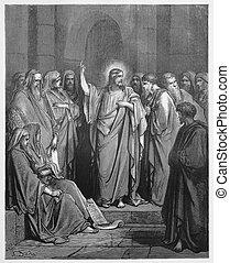 耶穌, preaches, 在, the, 猶太教堂