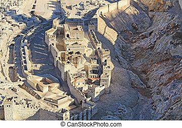 耶路撒冷, 城市, 降低, 古老, 模型