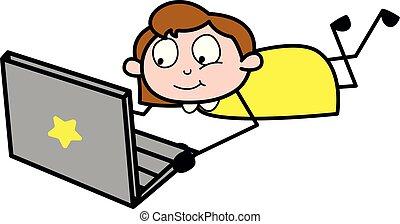 聊天, 办公室, 笔记本电脑, -, 描述, 矢量, retro, 雇员, 女孩, 卡通漫画