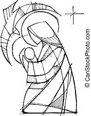 聖女瑪麗亞, 由于, 嬰兒耶穌, 以及, 圣靈