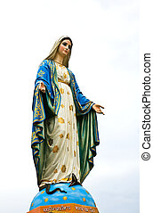 聖女瑪麗亞, 雕像, 在, chantaburi, 省, thailand.