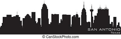 聖安東尼奧, 得克薩斯, skyline., 詳細, 矢量, 黑色半面畫像