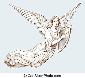 聖書, イラスト, 彫版, 天使, スタイル, 古い, harp., 飛行