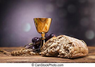 聖書, オブジェクト, ワイン。, 神聖, bread