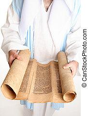 聖書, スクロール, 上に, gevil, 羊皮紙