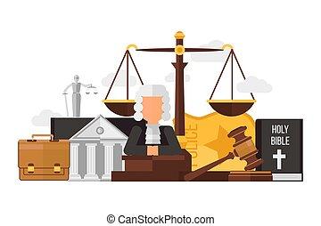 聖書, ベクトル, 警察, illustration., 平ら, 隔離された, 場合, 法廷, 裁判官, スケール, ...