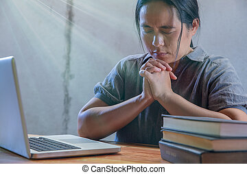 聖書, ラップトップ, ビジネス, 終わり, 祈ること, 女
