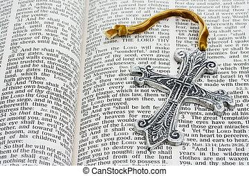 聖書, 交差点, 開いた, 銀
