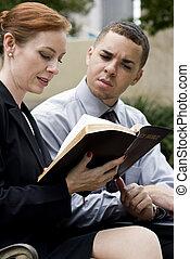聖書, 公園, 読書, ビジネス