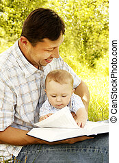聖書, 父, 若い, 息子, 彼の, 読書