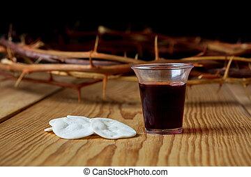 聖書, 神聖, カップ, とげ, 王冠, イエス・キリスト, 聖餐, ワイン, bread