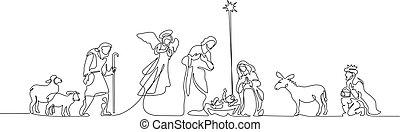 聖書, 神聖, family., 現場, イラスト, ベクトル