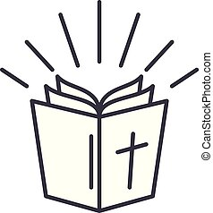聖書, 線である, イラスト, concept., シンボル, ベクトル, 線, 印, アイコン