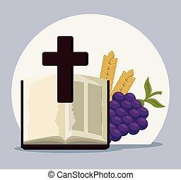 聖書, 聖餐, 交差点, ブドウ, 最初に