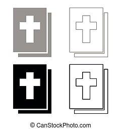 聖書, 色, 灰色, セット, 黒, アイコン