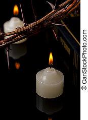 聖書, 蝋燭, 王冠, の上, ライト, とげ, 終わり