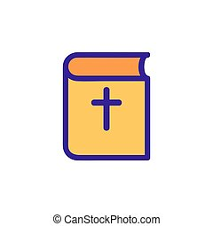 聖書, 輪郭, vector., イラスト, シンボル, 隔離された, アイコン