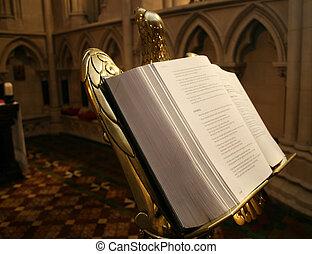聖書, 開いた, 教会