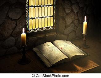 聖書, 開いた, 日光