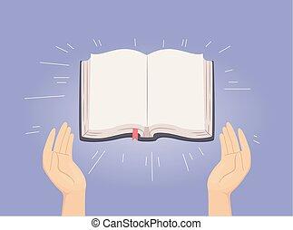 聖書, 開いた, 神聖, イラスト, 手