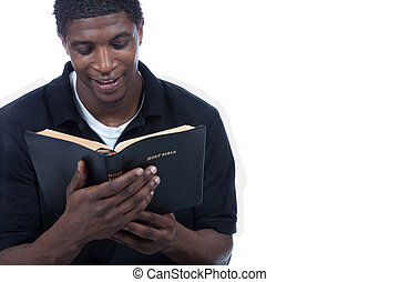 聖書, 黒, 読書, 人, 若い