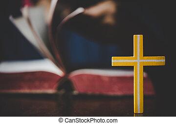 聖書, faith., 原稿, シンボル, 開かれる, 交差点, ぼやけ, 十字架像, 終わり