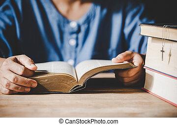 聖書, faith., 神聖, 手が折られる, 宗教, 精神性, 概念, 祈とう, 教会