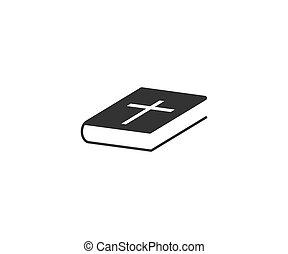 聖書, icon., 交差点, 平ら, design., 本, イラスト, ベクトル