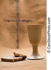 聖杯, bread, 交差点, ワイン