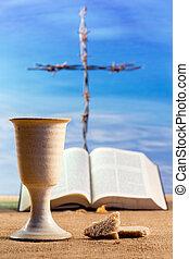 聖杯, bread, 十字架像, ワイン