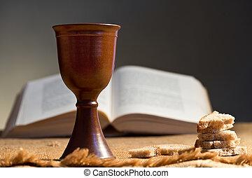 聖杯, bread, 聖書, 神聖, ワイン
