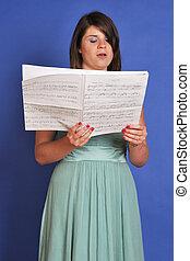 聖歌隊, シート, 女の子, 音楽, 歌うこと