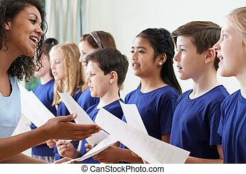 聖歌隊, 教師, グループ, 学校, 歌うこと, 子供