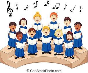 聖歌隊, 歌, 女の子, 男の子, 歌うこと