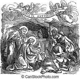 聖經, 圖畫, 新生的嬰孩, 2, 牧羊人, 耶穌, mary, 圣經, 遺囑, bethlehem., 約瑟夫, luke, 故事, 葡萄酒, 處女, 訪問, 新