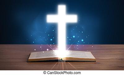聖經, 神圣, 產生雜種, 中間, 發光, 打開