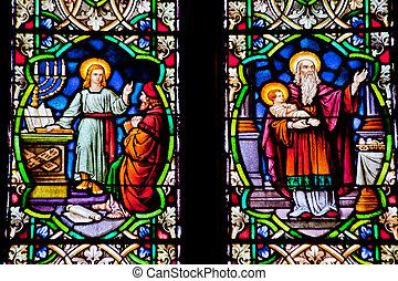 聖者, イエス・キリスト, ガラス, 青年, francis, 赤ん坊, 汚された, 国民のshrine